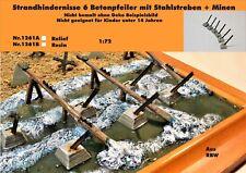 Diorama Nr.1261B Strandhindernisse 6 Betonpfeiler m. Stahlstreben+Minen 1:72