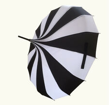 Vintage Pagoda rain umbrella Parasol Wedding Party Sun Rain Umbrella Black+White