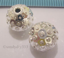 2x BRIGHT ITALIAN STERLING SILVER LASER STARDUST ROUND SPACER BEAD 10mm #807