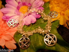 Pretty Quartz Pentacle Bracelet pentagram wicca pagan crystal silver jewellery