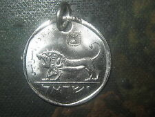 ISRAELI  ISRAEL  LION  COIN SILVER TONE PENDANT CHARM  NECKLACE