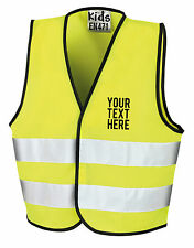Hi Vis Yellow High Viz Childrens Vest Waistcoat Jacket Kids Child Personalised