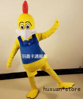 New Rooster Mascot Costume Yellow Chicken  Halloween Christmas Clothing Adult Sz