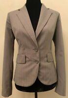 New York & Company Womens Blazer Jacket Size 2 Brown Pinstripe Single Breast