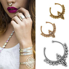 Fake Septum Clicker Clip On Non Piercing Nose Ring Hoop Cartilage Tribal Beaded