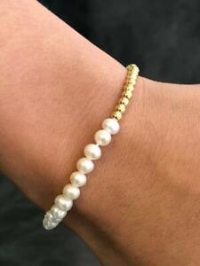 Yellow Gold Stainless Steel Bead Half Pearl Design Stretch Bracelet Stackable