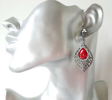 Stunning! 6cm long hematite tone & red diamante - crystal  drop earrings
