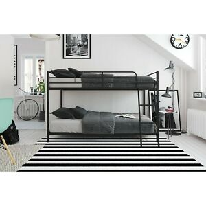 Small Space Junior Twin over Twin Bunk Bed, Black Metal