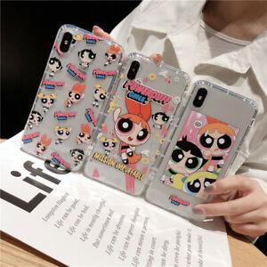 For iPhone 12 11 Pro Max XS XR 7 8+ Cute cartoon Powerpuff Girls shockproof case