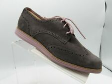 Cole Haan Lunarlon Grand Size 10 B Gray Suede Wingtip Oxfords Shoes For Women