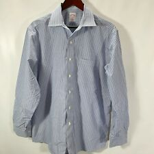 Brooks Brothers 346 Dress Shirt Regular Fit Non Iron Cotton Blue Stripe Size 16