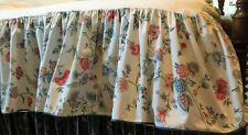 "Laura Ashley Chinese Silk Dust Ruffle FULL Bed Skirt Blue Floral Scallop 14½""Drp"