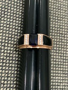 Stauer Signed Rose Gold Wash Sterling Silver Men's Ring Onyx Blue Clear Stones