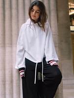 H&M STUDIO Linen Blend White Hooded Top Sweater Jumper Hoodie Top UK 6 18 BNWT