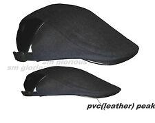 Para Hombre Negro Ajustable Newsboys taxista Flat Cap con aspecto de cuero (PVC) Pico