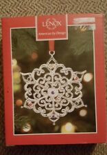 Lenox Sparkle and Scroll Snowflake Ornament Silverplate Multicolored Crystals