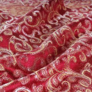 Tessuto Taglio 280x280 cm Fantasia Foglie Oro Rosso Cuscini Tovaglie Arredo Casa