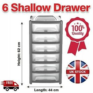 6 Tier Plastic Shallow Drawers Storage Office Home Tower Chest Drawer SchoolGrey