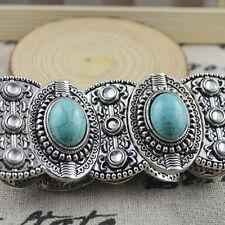 Vogue Chic Boho Womens Retro Vintage Natural Turquoise Tibetan Silver Bracelet