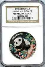 SCARCE 1998 COLORIZED PANDA 5 YUAN SILVER NGC GRADED PR 69 ...