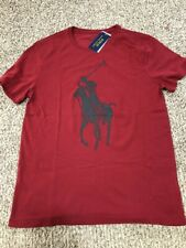 Mens Sz XL Polo Ralph Lauren Crewneck SS Custom Slim T-shirt Red Black Big pony