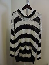 14th Union Acrylic Woven Striped Black and White Cowl Neck Sweater Size - 1X