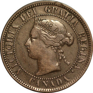 """1884 Obv. 1 Canadian Large Cent """"VERY SCARCE VARIETY"""" TRENDS FOR $300.00 in VF"""