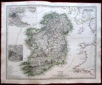 Dublin Bay Killarney Sea Ireland 1862 Petermann Stieler map