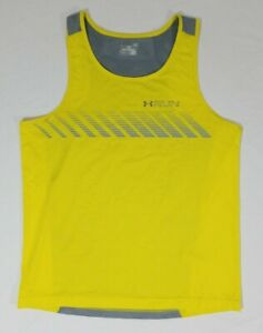 Under Armour Run Armourvent Apollo Running Fitted Tank Top Shirt Mens L Yellow