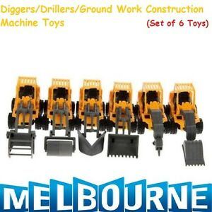 CONSTRUCTION PARTY FAVOURS TOY VEHICLES TRUCKS TRACTOR DIGGERS (PACK OF 6) Gift