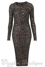 Paisley Polyester Stretch, Bodycon Cocktail Women's Dresses