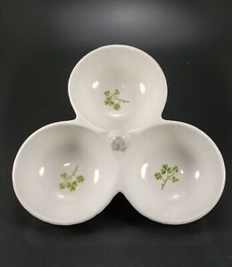 Green White Shamrock Divided Party Dish Condiment Relish Kate Williams