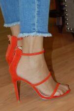 Liliana- Sexy Orange Open Toe High Heel Strappy Sandal  -Size 8 med