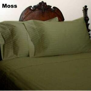 Moss Striped Split Corner Bedskirt Choose Drop Length US Size 800 Count