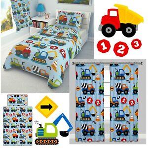 CONSTRUCTION TRUCKS Boys Baby Nursery Bedding Set 100% COTTON cot bed toddler