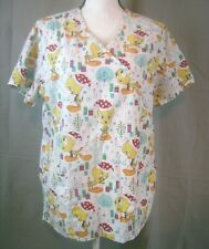 Womens Looney Tunes Tweety Bird Christmas Scrub Top Medium