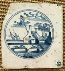 ANTIQUE 18C DUTCH DELFT BLUE AND WHITE TILE FEATURING A FARMSTEAD AND BOAT