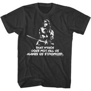 Conan the Barbarian Mens T-Shirt Arnie Makes Us Stronger Schwarzenegger Movie