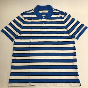 LAND END 3XLARGE TALL Men Short Sleeve Comfort-First Mesh Polo Shirt BLUE STRIPE