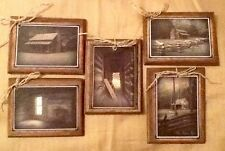 5 Handcrafted PRIMITIVE CABIN Wood HangTags/Early American Cabin Ornaments Set55