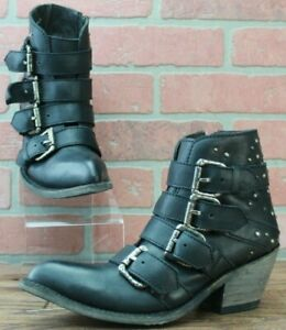 LIBERTY BLACK NEW AMY BUCKLE STRAPS STUDDED ANKLE BOOTS - BLACK COLOR - Size 7