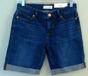 NWT Ann Taylor LOFT Denim Bermuda Shorts 26/2 Medium Wash Stretch #26893