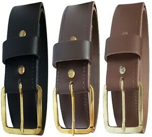 Mens New 1.25 Inches Wide Leather Belt With Gold Coloured Buckle Black Brown Tan