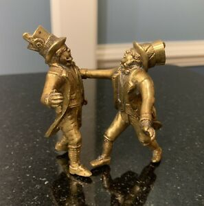 Antique English/Austrian Bronze/brass~Gentlemen In Top Hats Arguing!