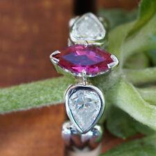 RUBIN Diamant Ring 0.96 ct 0.93 ct 2x Tropfen PLATIN TOPWERTE SW ca. 8.120.-Eur0