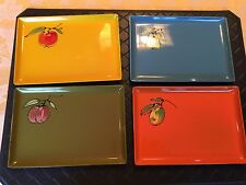 Vintage Four Colorful Davar Lacquer Ware Canopy Trays with Pictures of Fruit