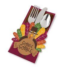 Thanksgiving Utensil Cutlery Holder Gobble Turkey 12 pc