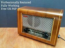 RESTORED Pye P75 Vintage Valve Radio SW MW LW 1950s Mid Century Modern Cambridge