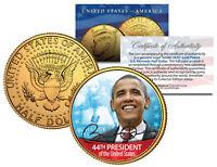 BARACK OBAMA *44th President* 24K Gold Plated JFK Half Dollar US Colorized Coin