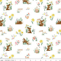Easter Bunny Basket rabbit fabric Riley Blake fabric 100% cotton white  Easter